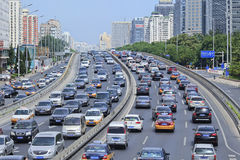 Traffic congestion on Financial Street, Beijing, China. BEIJING-AUG. 24. Traffic jam at 2th ring road. Beijing has currently 5.53 million cars, an increase of Stock Photo