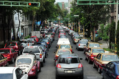 Traffic congestion in Mexico city. MEXICO CITY - FEB 24 2010:Traffic congestion in Mexico City.In 2012, there were 23,550,000 registered motor vehicles in Mexico Royalty Free Stock Image