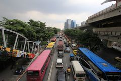 Traffic Congestion on the Road. In Bangkok , Thailand Royalty Free Stock Photo