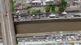Traffic congestion rush hour. City of Sao Paulo, Brazil. South America stock footage