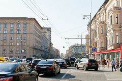 Traffic congestion on Tverskaya street in Moscow Royalty Free Stock Photography