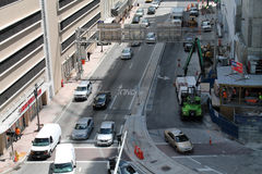 Traffic and construction in Downtown Miam Royalty Free Stock Photo
