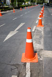 Traffic control cones at side street Royalty Free Stock Photography