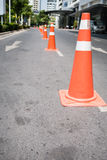 Traffic control cones at side street Stock Images