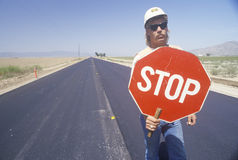 Traffic control on a highway, Royalty Free Stock Image