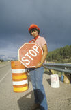 Traffic control on a highway Stock Photography