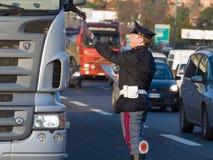 Traffic controls, Italian police stock photography