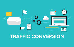 Traffic conversion flat illustration concept. Flat design modern vector illustration concept of the website traffic conversion growth, webpage search engine Stock Photo