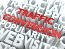 Traffic Conversion - Red Wordcloud Concept. Stock Photography