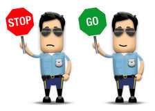 Traffic Cop. Holding up stop and go sign Stock Image