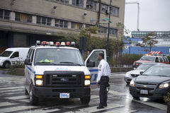 Traffic cop directing traffic after storm sandy Royalty Free Stock Images