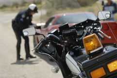 Traffic cop's motorcycle Stock Images