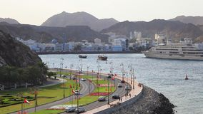 Traffic at the corniche in Muscat, Oman. Traffic at the corniche in Muscat, Sultanate of Oman. November 24, 2015 in Muscat, Oman, Middle East stock video footage