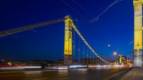 Traffic on the Crimean bridge at night, Moscow Royalty Free Stock Photography