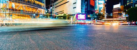 Traffic crosses the Shibuya Scramble crosswalk, in Tokyo, Japan. One of the busiest intersections in the world Stock Photography