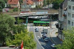Traffic on crossing on Poznanska street in Poznan, Poland Stock Photography