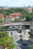 Traffic on crossing on Poznanska street in Poznan, Poland Stock Photo