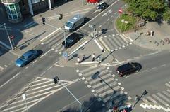 Traffic on crossing on Poznanska street in Poznan, Poland Royalty Free Stock Photo