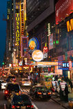 Traffic and crowds along 42nd street in Times Square district. Royalty Free Stock Photos