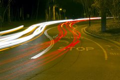 Traffic Curve. A long exposure of traffic winding through a curve Royalty Free Stock Photography