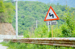 Traffic Curve road sign Stock Photo