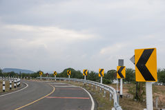 Traffic on the curve way. In Thailand Royalty Free Stock Photos