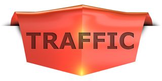 Banner traffic. Traffic 3D rendered red banner , isolated on white background Royalty Free Stock Photography