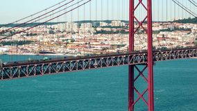 Traffic on the 25 de Abril Bridge in Lisbon Portugal stock video footage