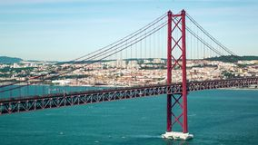 Traffic on the 25 de Abril Bridge in Lisbon Portugal stock video