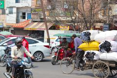 Traffic in Delhi royalty free stock photos