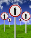 Traffic direction signs up Stock Photos