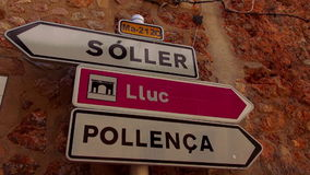 Traffic directions signs in a small spanish village stock footage
