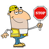 Traffic Director. Smiling Traffic Director Holding Stop Sign Royalty Free Stock Images