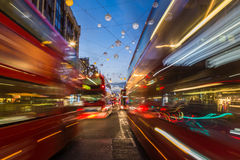 Traffic down Oxford Circus at Christmas Stock Photos
