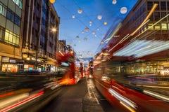 Traffic down Oxford Circus at Christmas Stock Photo
