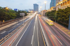Traffic in downtown of Guangzhou, China. Royalty Free Stock Photos