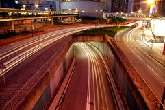 Traffic through downtown in Hong Kong Royalty Free Stock Photos