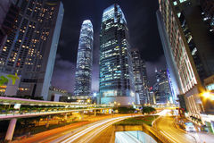 Traffic through downtown of Hong Kong at night Stock Photography