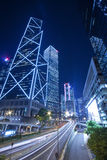 Traffic in downtown of Hong Kong at night Royalty Free Stock Image