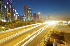 Traffic in downtown Hong Kong at night Royalty Free Stock Images