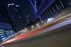 Traffic through downtown Hongkong Royalty Free Stock Images