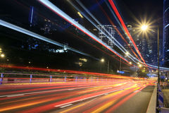 Traffic through downtown Hongkong Royalty Free Stock Images