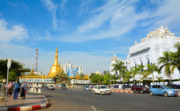Traffic in downtown Yangon, Myanmar Stock Images