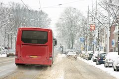 Traffic driving in  snowy Amsterdam Netherlands Stock Photography