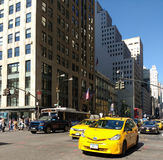 Traffic Driving South Down 5th Avenue at 42nd Street, New York City, NYC, NY, USA royalty free stock photography