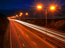 Traffic at dusk. On busy road in the united kingdom Royalty Free Stock Photos