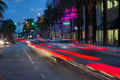 Traffic at dusk in Miami Beach. Miami Beach, Florida, USA - August 2015: traffic of cars at dusk Stock Image