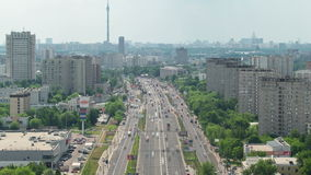 Traffic on the elevated road timelapse overpass on. Top view of Traffic on the elevated road timelapse overpass on Yaroslavl highway Ostankino tv tower on stock footage