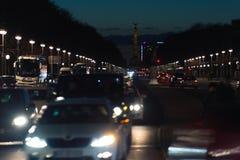 Traffic in the evening Berlin Stock Photos