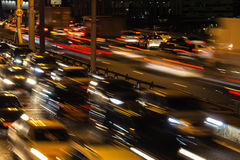 Traffic, evening and night scene. Traffic jam, evening and night scene Stock Photography